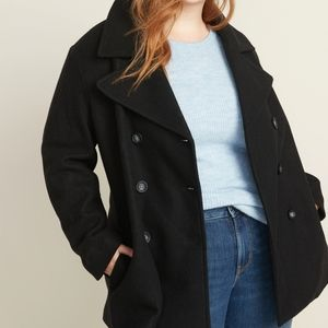 Old Navy Black Peacoat Jacket Wool Blend Button